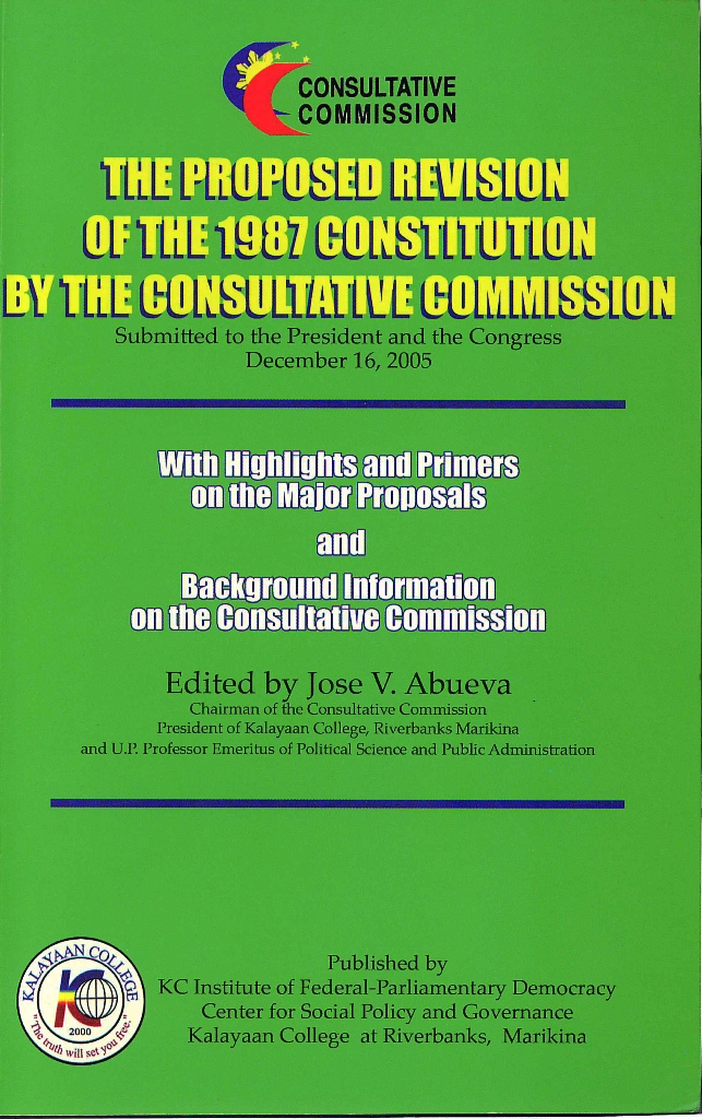 The Proposed Revision of the 1987 Constitution By The Consultative Commission