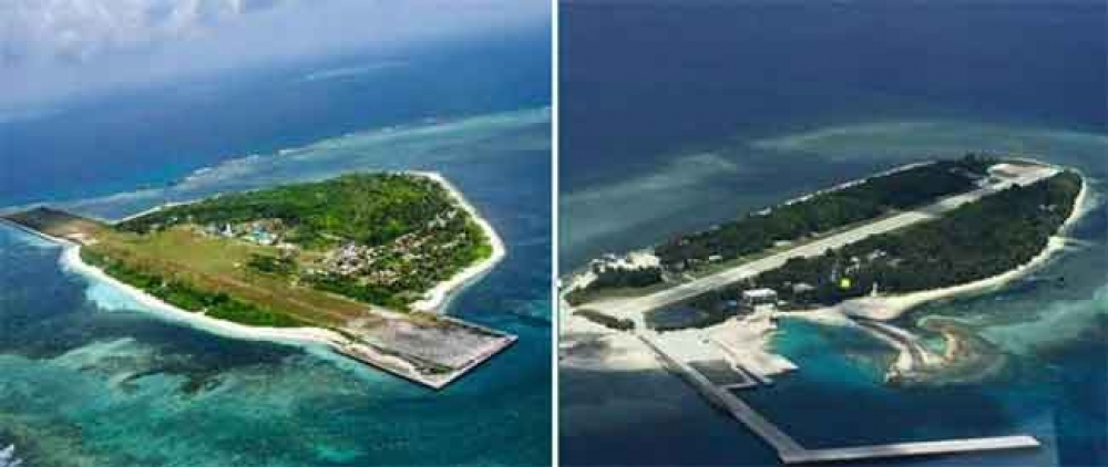 Arbitration panel said they aren't islands, just rocks: Our Pag-asa Island, left; right, Taiwan's Taiping.